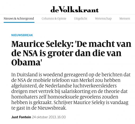 Interview in De Volkskrant
