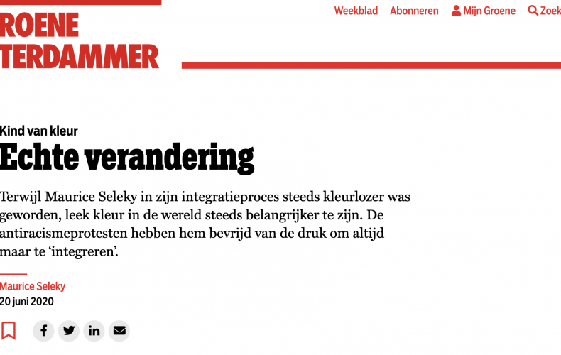 De Groene Amsterdammer publiceert essay Maurice Seleky